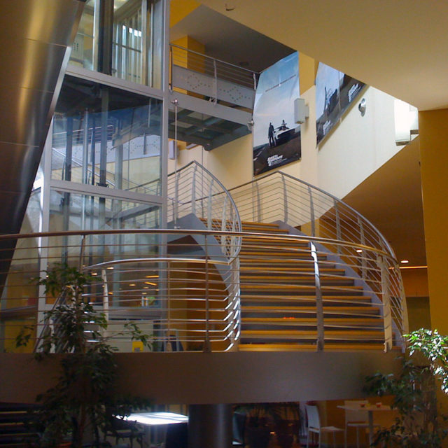 Spiral Staircase Oval Steel Wood With Panoramic Elevator (Centro  Commerciale Fabriano)